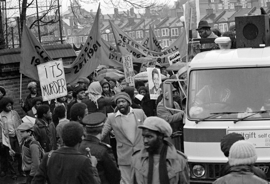 "Untitled, Black People's Day of Action, 2nd March. Fibre-based silver gelatin print, 16x20"" © Vron Ware / Courtesy of Autograph ABP, London. Supported by the National Lottery through the Heritage Lottery Fund."