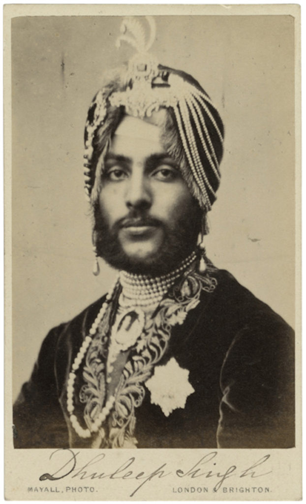 <strong> Maharaja Duleep Singh. London, circa 1864. By Photo Mayall.</strong><br></br>Courtesy of Autograph ABP. Supported by the National Lottery through the Heritage Lottery Fund.<br></br>Maharaja Duleep Singh of Lahore (1838-93), the last Sikh ruler of the Punjab. He came to the throne at the age of  five, and was dethroned after the Second Anglo-Sikh War and the subsequent annexation of the Punjab in March 1849. Separated from his mother, he became a ward of the British government, resigning his rights and property to the British Crown in exchange for a pension. In 1854 he was exiled to England becoming a close acquaintance of Queen Victoria, living the life of a British aristocrat. He later re-embraced his Sikh heritage, despite attempts to keep him from returning to India.<br></br>Albumen carte-de-visite,  64x100mm.