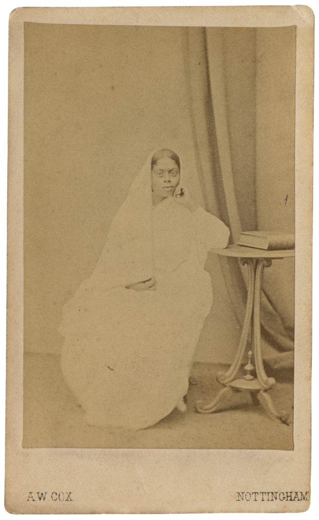 <strong> Unidentified Sitter. Nottingham, circa 1860s. Photography by A. W. Cox. </strong><br></br>Courtesy of Autograph ABP. Supported by the National Lottery through the Heritage Lottery Fund.<br></br>Details regarding the sitter's identity remain unknown at this stage. <br></br>Albumen carte-de-visite,  64x100mm.