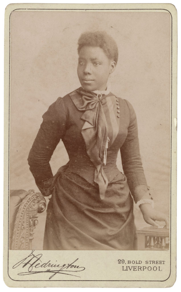 <strong> Unidentified Sitter, Liverpool, 1880s, by Medrington.</strong><br></br>Courtesy of Autograph ABP. Supported by the National Lottery through the Heritage Lottery Fund.<br></br>Details regarding the sitter's identity remain unknown at this stage. <br></br>Albumen carte-de-visite,  64x100mm.