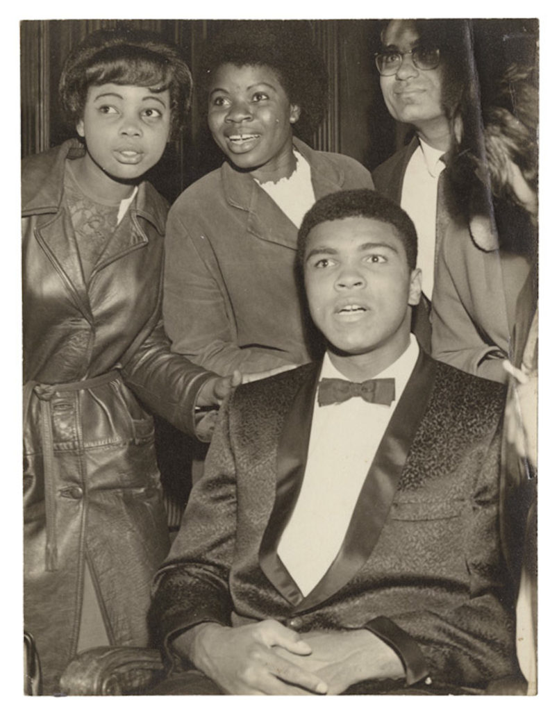 "Muhammad Ali surrounded by supporters after his Earl's Court fight, London, 1966.  Vintage bromide print, 10 x 12 "" © James Barnor / Courtesy of Autograph ABP, London. Supported by the National Lottery through the Heritage Lottery Fund."