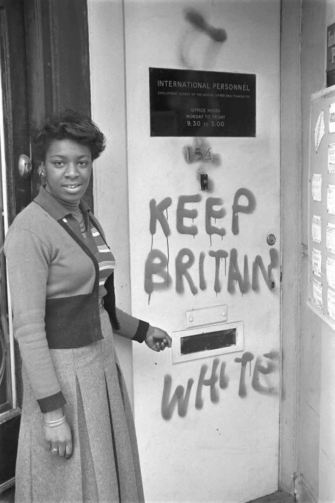 "Keep Britain White' graffiti, Balham, London, 1972. Fibre-based silver gelatin print, 12 x 16"" © Neil Kenlock / Courtesy of Autograph ABP, London. Supported by the National Lottery through the Heritage Lottery Fund."