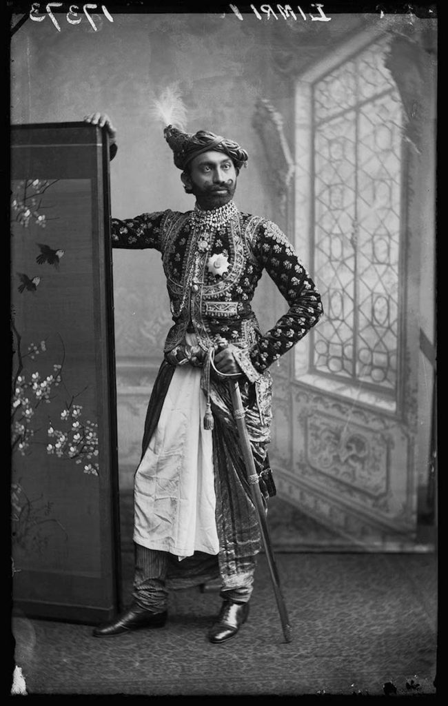 <strong>Jaswantsinghji Fatehsinghji. London, 1887. <br>By London Stereoscopic Company.    </strong>   <br></br>  © Hulton Archive/Getty Images. Courtesy of Hulton Archive, and Autograph ABP, London. Supported by the National Lottery through the Heritage Lottery Fund. <br></br>   Sir Jaswantsinghji Fatehsinghji (1859– 1908) was a notable Indian ruler who held the title of Thakur Sahib of Limbdi, then situated in the Kathiawar region of Gujarat. He was educated at Rajkumar College in Rajkot, one of the oldest K-12 institutions in India. In 1887 he was awarded the insignia of the Knight Commander of the Most Eminent Order of the Indian Empire by Queen Victoria. The state of Bombay also appointed him as a member of the legislative council.  <br></br>  Fibre-based silver gelatin print, 20x24""