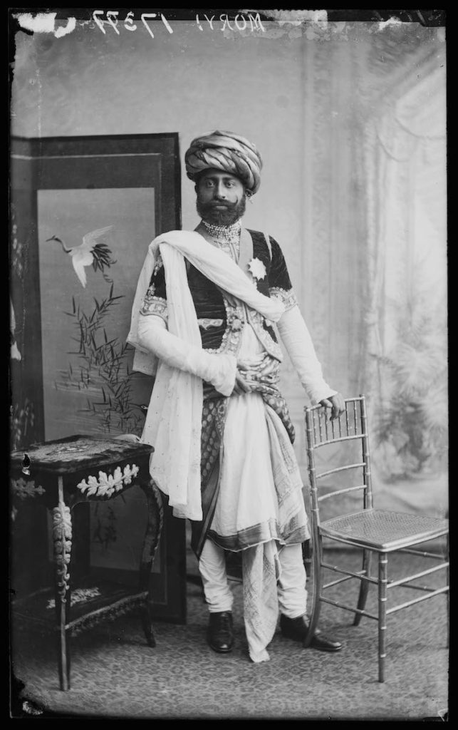 <strong>Jaswantsinghji Fatehsinghji. London, 1887.   </strong>   <br></br>  © Hulton Archive/Getty Images. Courtesy of Hulton Archive, and Autograph ABP, London. Supported by the National Lottery through the Heritage Lottery Fund. <br></br>   Sir Jaswantsinghji Fatehsinghji (1859– 1908) was a notable Indian ruler who held the title of Thakur Sahib of Limbdi, then situated in the Kathiawar region of Gujarat. He was educated at Rajkumar College in Rajkot, one of the oldest K-12 institutions in India. In 1887 he was awarded the insignia of the Knight Commander of the Most Eminent Order of the Indian Empire by Queen Victoria. The state of Bombay also appointed him as a member of the legislative council.  <br></br>  Fibre-based silver gelatin print, 20x24""
