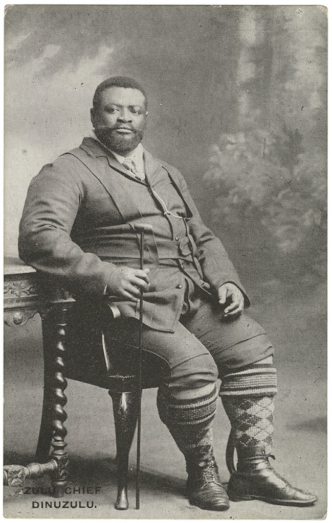 <strong> King Dinuzulu kaCetshwayo. London, circa 1890/1900. Photographer unknown.  </strong><br></br>Courtesy of Autograph ABP. Supported by the National Lottery through the Heritage Lottery Fund.<br></br>Dinuzulu kaCetshwayo was the king of the Zulu nation from 20 May 1884 until his death in 1913. He succeeded his father King Cetshwayo kaMpande (1826–83) who was the last king of the Zulus to be officially recognised as such by the British, and its leader during the Anglo-Zulu War of 1879. <br></br>Albumen carte-de-visite,  64x100mm.