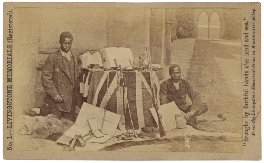 <strong>  James Chuma and Abdullah. London, 1874. Photograph by R. Allen & Son. </strong><br></br>Courtesy of Autograph ABP. Supported by the National Lottery through the Heritage Lottery Fund.<br></br>Albumen carte-de-visite,  64x100mm.
