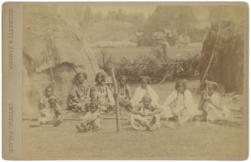 <strong>  'Somali Group'. Crystal Palace, circa 1895. Photograph by Negretti & Zambra. </strong><br></br>Courtesy of Autograph ABP. Supported by the National Lottery through the Heritage Lottery Fund.<br></br>Albumen cabinet card, 105x162mm