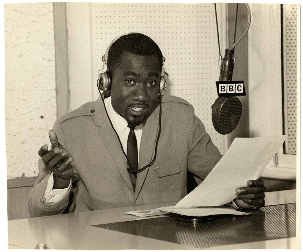 "Mike Eghan at the BBC Studios, London, 1967. Vintage bromide print, 10 x 12 "" © James Barnor / Courtesy of Autograph ABP, London. Supported by the National Lottery through the Heritage Lottery Fund."