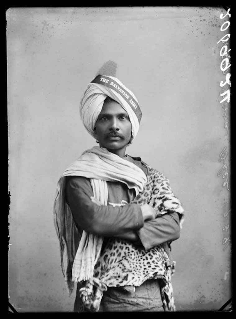 <strong>Musa Bhai, The Salvation Army. London, 1891.  <br>By London Stereoscopic Company.   </strong>   <br></br>  © Hulton Archive/Getty Images. Courtesy of Hulton Archive, and Autograph ABP, London. Supported by the National Lottery through the Heritage Lottery Fund. <br></br>  Musa Bhai was born in Ceylon, now Sri Lanka. He spoke Arabic and English fluently, and convertedto Christianity in India. He was educatedat Coimbatore College in Madras and first travelled to England in 1888, together with William Booth and his family, founder of the Salvation Army. He lectured widelyon Hinduism and Christianity. Outspoken, eloquent and well-versed as an orator, he later continued his missionary tours in India on behalf of the Salvation Army and published several pamphlets on his work.  <br></br>  Fibre-based silver gelatin print, 20x24""