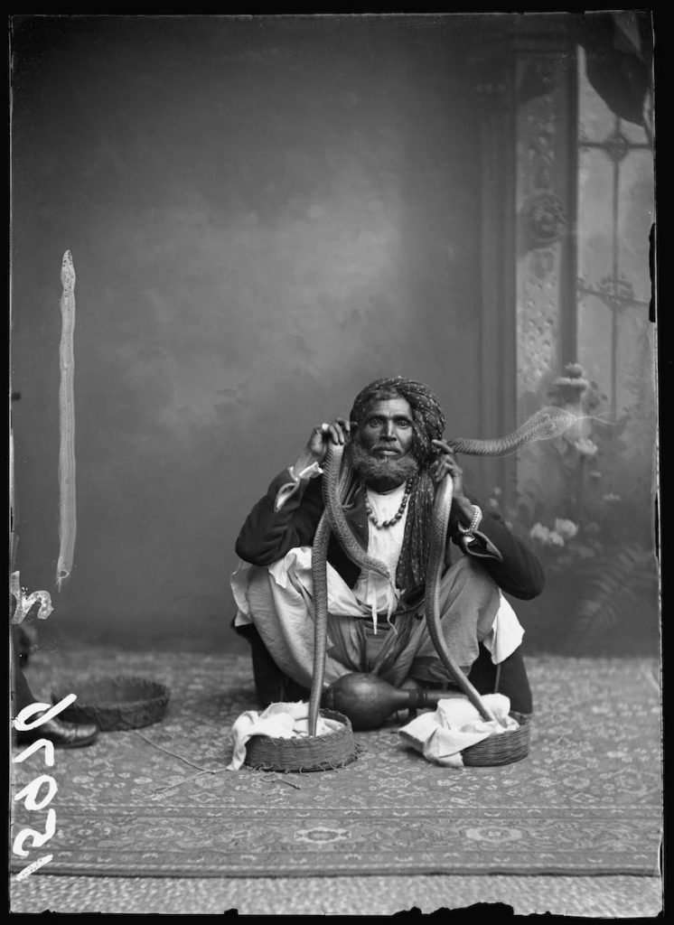 <strong>Unidentified Sitter. London, 1885. <br>By the London Stereoscopic Company.   </strong>   <br></br>  © Hulton Archive/Getty Images. Courtesy of Hulton Archive, and Autograph ABP, London. Supported by the National Lottery through the Heritage Lottery Fund. <br></br>  Portrait of an unknown Indian snake charmer. No further details are known about the sitter at this stage. He was photographed at the London Stereoscopic Company studio on 31 October 1885, and is believed to have toured Britain as part of a musical troupe of illusionists who performed conjuring, juggling and other hand tricks popular in variety entertainment during the Victorian era.  <br></br>  Fibre-based silver gelatin print, 20x24""