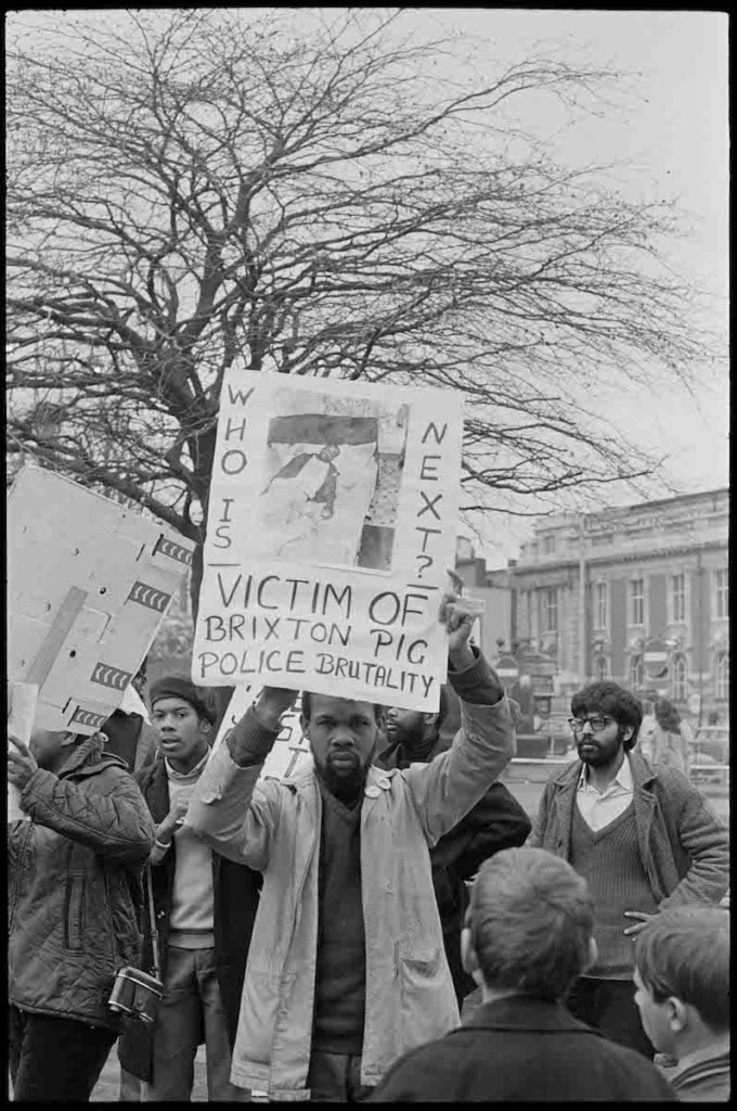 "Untitled (Demonstration in support of Joshua Francis), Brixton, London, 1972. Fibre-based silver gelatin print, 12 x 16"" © Neil Kenlock / Courtesy of Autograph ABP, London. Supported by the National Lottery through the Heritage Lottery Fund."